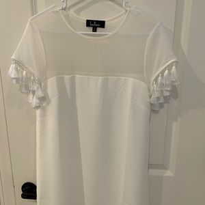 Lulus small white sheer knee length dress
